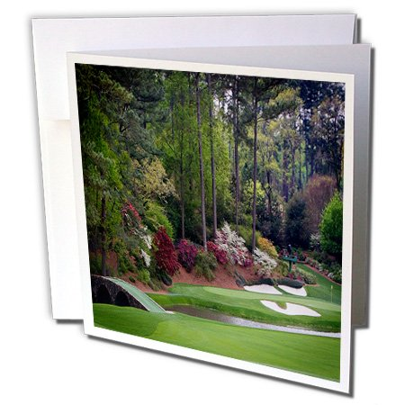 3dRose Augustas Amen Corner Golf Course - Golfers on Bridge - Greeting Cards, 6 x 6 inches, set of 12 (gc_131410_2)