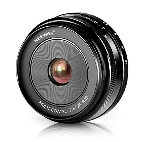 Neewer 28mm f/2.8 Manual Focus Fixed Lens for Olympus M43 Digital Cameras and and PANASONIC APS-C Cameras, Such as Olympus EM1, M, M10, EP5, EPL3, PL5, PL6, PL7, Pen-7 etc