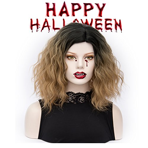 Bob wig Ombre Short Curly Synthetic Hair Wigs Full Wig for Women Daily Use Cosplay (Halloween Parties In Los Angeles 2017)