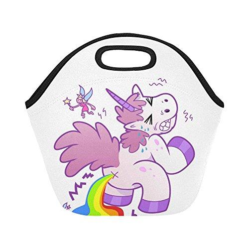 Interestprint Insulated Lunch Tote Bag Funny Cartoon Unicorn Pooping Rainbow Reusable Neoprene Cooler, Cute Fairy Portable Lunchbox Handbag for Men Women Adult Boys Girls