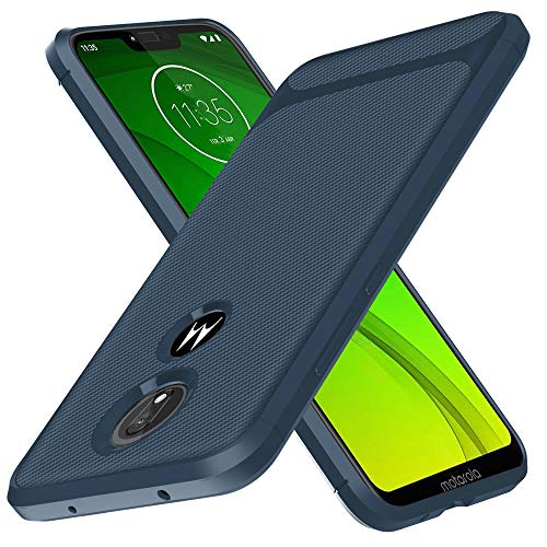 Moto G7 Power Case US Version, Moto G7 Supra Case, Starhemei Slim TPU Soft Case Flexibility Bumper Rubber Unique Carbon Fiber Texture Case Cover for Motorola Moto G7 Power XT1955 (Navy)