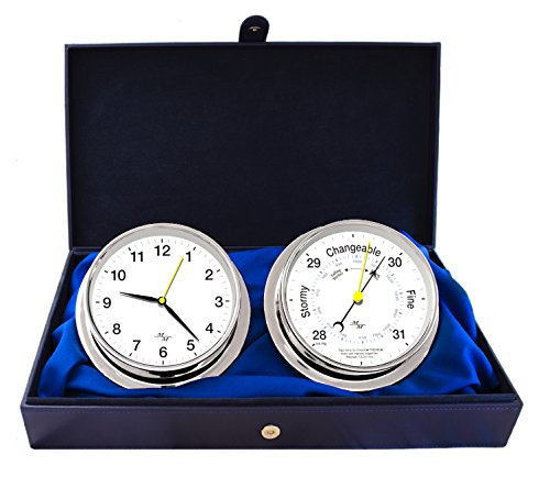 "Master-Mariner First Light Collection, Nautical Cabin Gift Set, 5.75"" Diameter Clock and Barometer Instruments, Chrome Finish, Classic White dial"