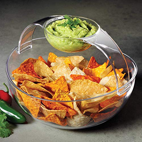 Acrylic Chip and Dip Serving Bowl, Elegant Serving Dish - Great for Chips, Dips, Appetizer, Fruit Bowl, Salad and Snack - Clear Chips and Dip Plate