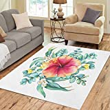 Semtomn Area Rug 2' X 3' Green Floral Round Wreath Branches of Silver Dollar Eucalyptus and Peach Pink Home Decor Collection Floor Rugs Carpet for Living Room Bedroom Dining Room