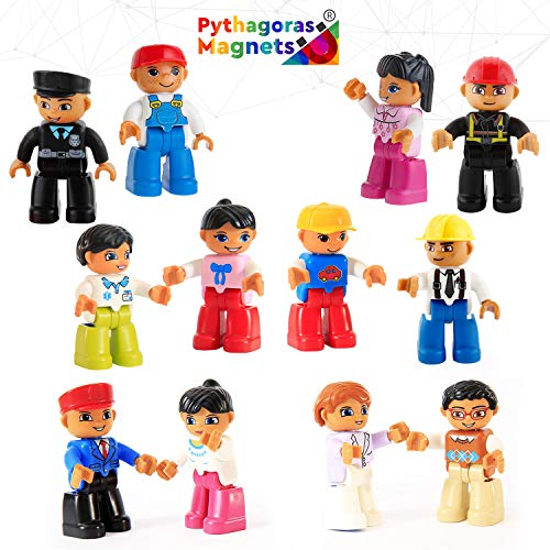 Magnetic Figures Set of 12 – Toy People Magnetic Tiles Expansion Pack for Boys and Girls – Nurse, Builder, Fireman, Police Educational STEM Toys Add on Sets for Magnetic Blocks ()