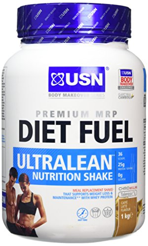 USN Diet Fuel Ultralean Weight Control Meal Replacement Shake Powder, Caffe...
