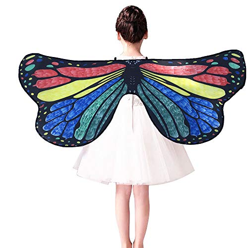 m·kvfa Kids Child DIY Butterfly Cape Wings Creative Angel Wings Dress up Costume Birthday Gifts for Kids (B)