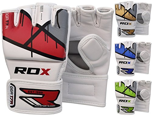 (RDX MMA Gloves Grappling Martial Arts Punching Bag Maya Hide Leather Mitts Sparring Cage Fighting UFC Combat Training)