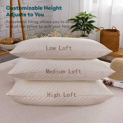 Pillows for Sleeping, FabricMCC Bed Pillow for Side Sleeper, Set of 2 Neck Pillow with Removable and Washable Pillow Case - White