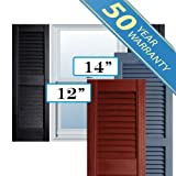 Premium Vinyl Open Louver Window Shutters, w/Shutter Spikes & Screws (Per Pair)