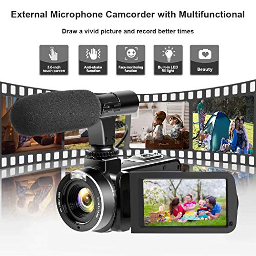 Video Camera Camcorder, Vlogging Camera Full HD 1080P 30FPS 3 LCD Touch Screen Vlog Video Camera for YouTube Videos with External Microphone and Remote Control