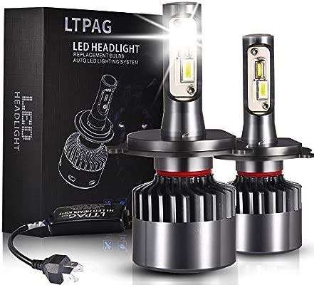 Bombilla H4 LED Coche, LTPAG 2pcs 72W Lampara H4 LED 12V/36V Luces LED Coche H4, 2019 Novísimo 12000LM Faros Reemplazo de Halógena y Kit Xenón H4, ...