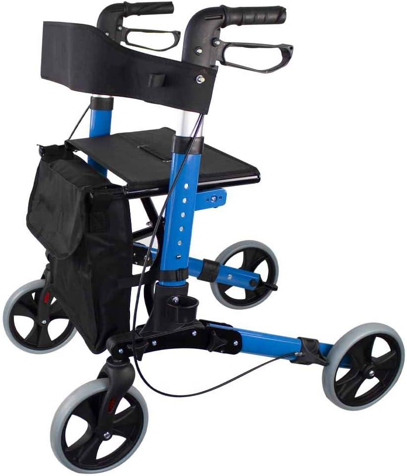 Mobiclinic, Modelo Trajano, Andador para adultos, ancianos, minusvalidos o mayores, de aluminio, ligero, plegable, con asiento y 4 ruedas. Color Celeste