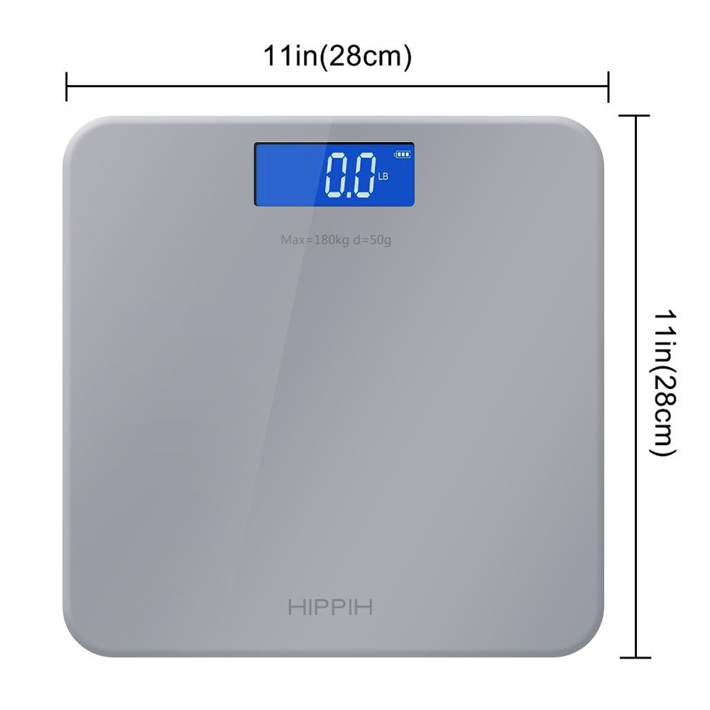 Yoobure 400lb / 180kg Digital Body Weight Bathroom Scale with Tempered Glass Balance Platform Easy Read Backlit LCD Display Scale (Gray) by Yoobure (Image #5)