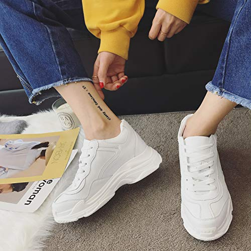 Ronde Blanc Plat Moyen Tie 5cm neuf Printemps Tte Chaussures paisse Bottillon Ups Automne Talon Sports Kphy Femmes Dames Et Trente UOqHaU6P