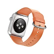 BEST #1 Apple Watch Leather Strap by Mifa Genuine Premium Grade Leather Band Multiple Color Selection: Black, Blue, and Brown for 38mm Leather Strap With High Quality Stainless Steel Clasp All Model Supported Apple Watch Sports Apple Watch Edition Replacement Band One Size Fits All Wrist size (155 mm to 210 mm) 38 mm Band