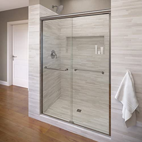 Basco Infinity Semi-Frameless Sliding Shower Door, Fits 44- 47 inch opening, AquaGlideXP Clear Glass, Silver Finish