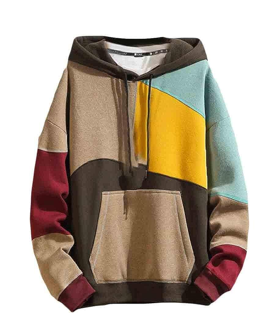 Etecredpow Mens Long Sleeve Pocket Hoodie Classic Color Block Sweatshirts