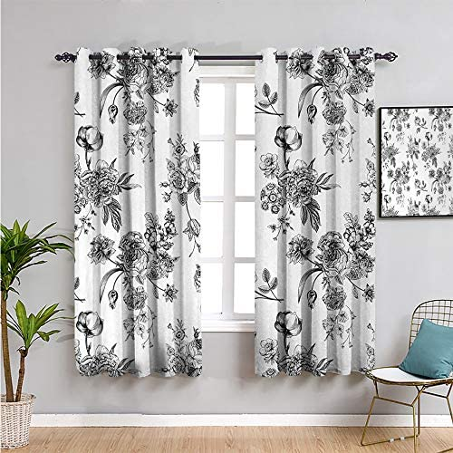 Black and White Black Out Window Curtain 2 Panel