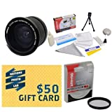 Opteka .35x High Definition II Super Wide Angle Panoramic Macro Fisheye Lens for Panasonic HC-V720 Live Streaming HD Camcorder With Bonus 67MM High Definition II UV (0) Ultra Violet Haze Multi-Coated Glass Filter + Deluxe Lens Cleaning Kit + LCD Screen Pr