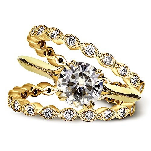 Vintage moissanite Forever et diamants de mariage de Lot de 1 3/4 carats (CT) Or jaune 14 K _ 6.5