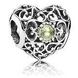 Pandora August Signature Heart Peridot #791784PE