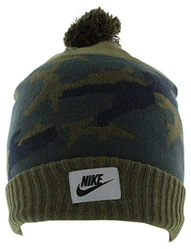 Nike Ribbed Beanie - NIKE Mens Knit Printed Beanie Hat Green O/S
