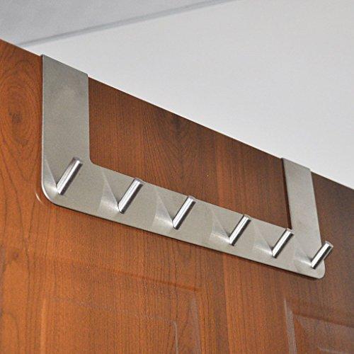 """Sumnacon Over the Door Hooks - 6 Hooks Over The Door Organizer Rack, Stainless Steel Towel Door Hanger, Bathroom Door Hook, Suitable 1.5 """" to 1.8 """" Thickness Door"""
