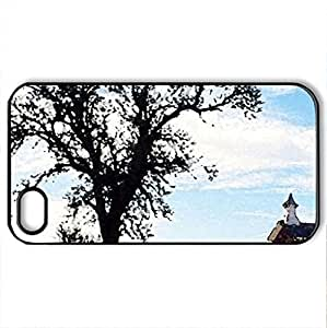 abandoned schoolhouse arvonia kansas - Case Cover for iPhone 4 and 4s (Houses Series, Watercolor style, Black)