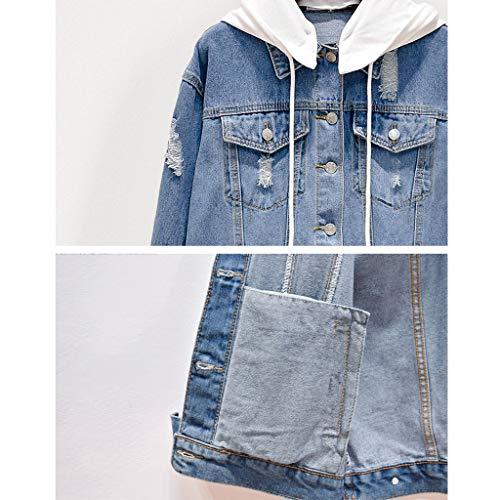Azzurro Nz Giacca Lunghe Cappuccio Denim Casual Rimovibile Dimensioni Azzurro Donna Xl Con Jeans colore Sciolte Ricamato Maniche Di In Da Cappotto A UUqOrd