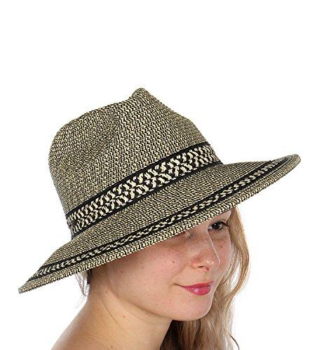 Unisex Fedora Brim Hat - C.C SERENITA Unisex Wide Brim Panama Fedora Sun Hat Geometric Band Black Mix