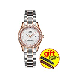 Luxury Full Diamond Lady Watch Rhinestone Stainless Steel Band Bracelet Wristwatch (Rose gold and white)