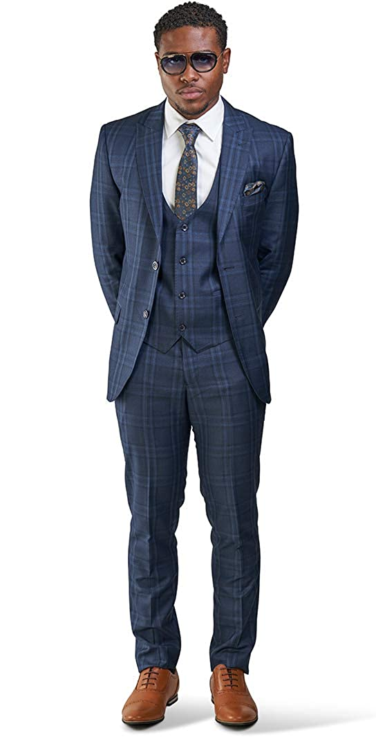 Slim Fit Suit 2 Button Peak Lapel Windowpane Plaid Vest Optional 35071