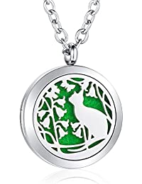 Aromatherapy Essential Oil Diffuser Necklace Stainless Steel Locket Pendant Jewelry for Women Girls Boys Kids