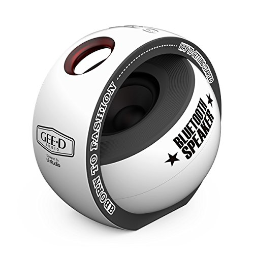 GEE•D B038 Portable Bluetooth Speaker Mini with Subwoofer 3D Stereo Sound Super Speaker, Built-in Mic, Small Bluetooth Speaker Wireless for iPhone Sony Samsung Android and More (White)
