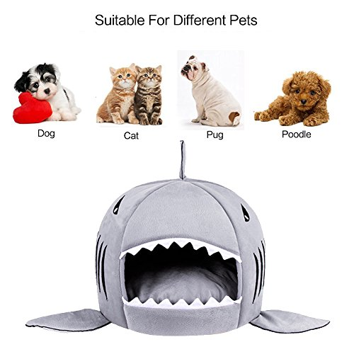 Shark-Pet-House-Washable-Dog-Cave-Bed-with-Removable-Cushion-and-Waterproof-Bottom-for-Small-Pet-up-to-10-Pounds