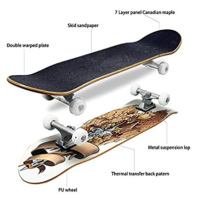 Cuskip Black Dragon Wings Dark Dragon Stock Illustrations Skateboard Complete Longboard 8 Layers Maple Decks Double Kick Concave Skate Board, Standard Tricks Skateboards Outdoors, 31