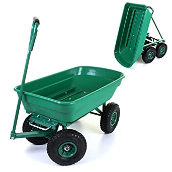 Heavy Duty Outdoor Green Garden Cart Truck Tipper Dumper 4 Wheel Plastic  Tray