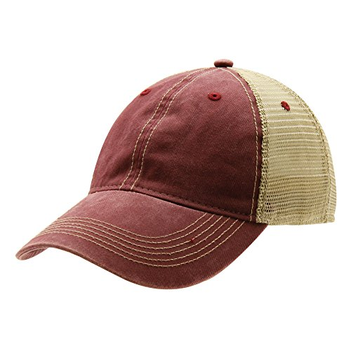 Ouray Sportswear Legend Vintage Wash Trucker Cap, Burnt Henna/Khaki, Adjustable