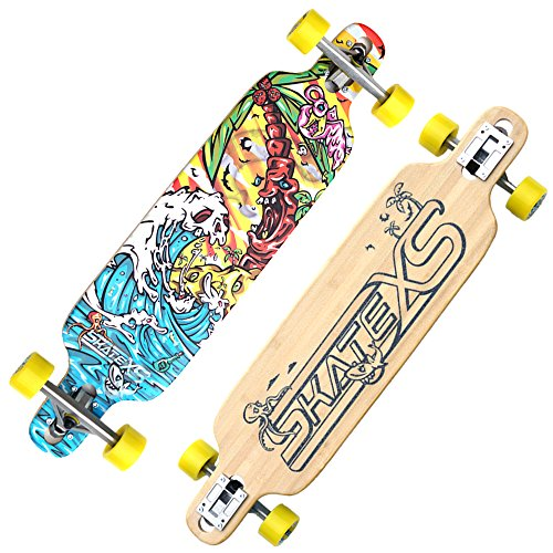 (SkateXS Kids Longboard Complete- Eco Friendly Bamboo Longboard for Kids- Durable and The Perfect Size for Kids of All Levels- Complete Includes Longboard Deck, Wheels, Trucks, and ABEC 7 Bearings)