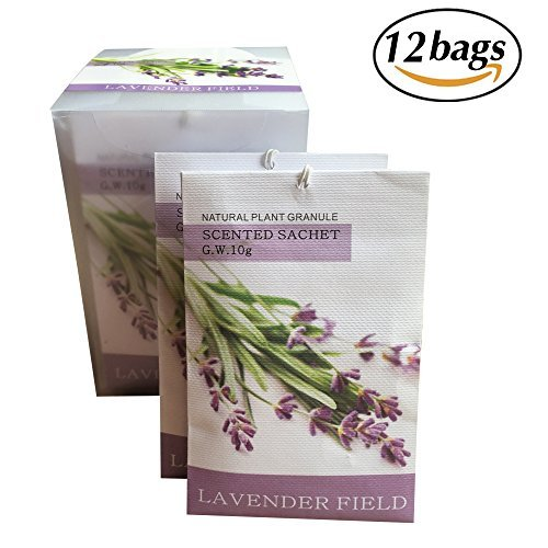 Pack of 12 Moth Repellent Sachets With Natural Lavender Anti Moth for Closets Clothes Freshener and Drawers Cupboards Storage Accessories