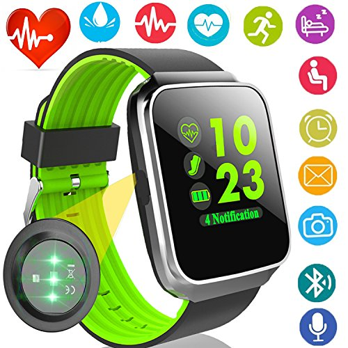 Fitness Tracker with Heart Rate Blood Pressure Monitor Smart Watch GPS Activity Tracker for Men Prime Gift Women Summer Sport Smartwatch Calories Pedometer Sync Phone Calls SMS Android iOS (Smart Green)