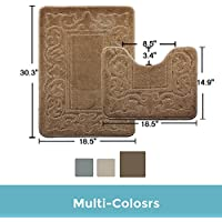 Bath Mat Washable Unique Absorbent Bath Rug Set Non Slip Antibacterial (14.9X18.5,18.5X30.3, brown)