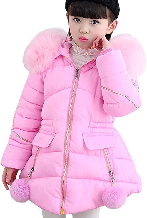 ZXYSHOP Abrigo de Invierno Acolchado para Niñas Princesas Chaqueta de algodón Dulce con Capucha Cintura Ajustable ...