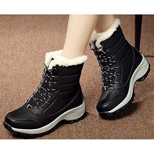 tessuto HSXZ Casual Nero cadono donna Mid Calf piatto Blue Comfort Scarpe Rosso per Bianco molla tacco a Snow scarponi stivali White Boots raEwnrqRt5