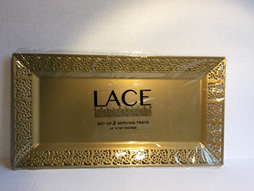 "Silver Spoons and Morelace Rim 14""x7.5"" Heavyweight Plastic Set of 2 Serving Trays,gold"