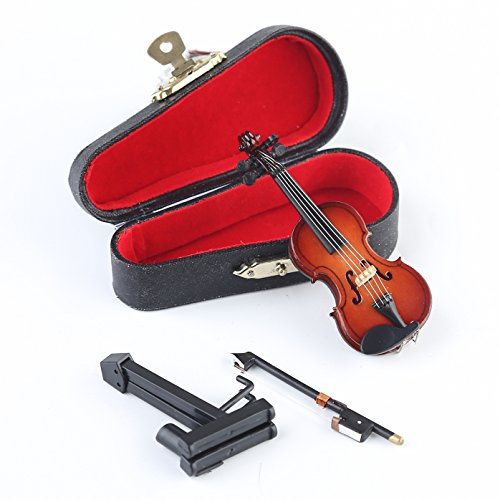Seawoo Wooden Miniature Violin with Stand,Bow and Case Mini Musical Instrument Miniature Dollhouse Model Home Decoration (3.15