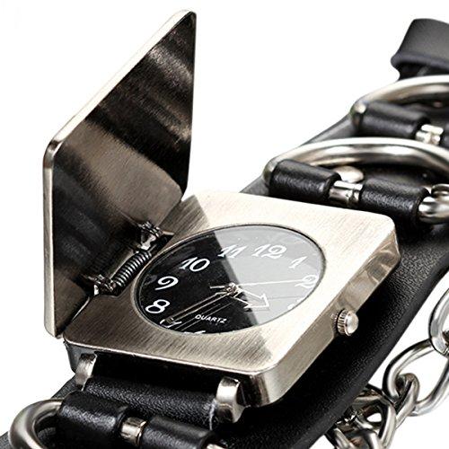 Avaner Punk Gothic Rock Oversize Chain Cross Black Leather Belt Cuff Bracelet Analog Quartz Wrist Watch for Men Women