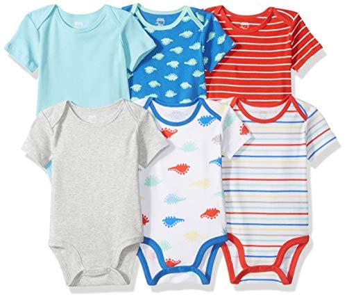 Amazon Essentials Baby Boys 6-Pack Short-Sleeve Bodysuit, Dino, 12M