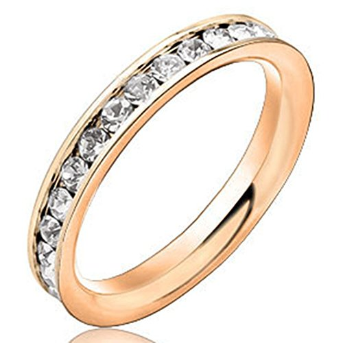 Men Women 3mm Rose Gold Stainless Steel Channel Set Cubic Zirconia CZ Inlay Ring Engagement Wedding Band Size 8.5